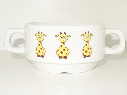 Soup Bowl 6, 1 pcs, Giraffe Soup Bowl Small Baby Child Kids, Bottom, Hidden Message, Secret Message, Animal, Animals, Cartoon, Funny, Giraffe, Kids, The Zoo, Porcelain by topmug