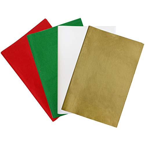 Resinta 120 Sheets Christmas Tissue Paper 15 x 20 Inch Gift Paper for Christmas Gift Bags Decorations, DIY and Craft,Red, Green, White and Gold