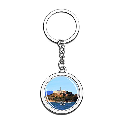USA United States Keychain Alcatraz Island San Francisco Key Chain 3D Crystal Spinning Round Stainless Steel Keychains Travel City Souvenirs Key Chain Ring