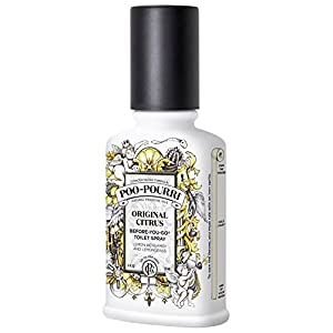 Poo-Pourri Before-You-Go Toilet Spray 4-Ounce Bottle, Original Citrus Scent + Bonus Free Hand Sanitizer Spray