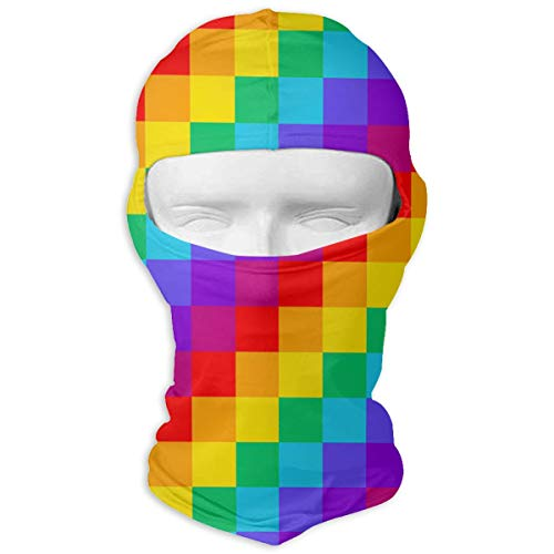 (JAUF7R Rainbow Plaid Pattern Balaclava Windproof Ski Mask for Cycling Outdoor Sports Full Face Breathable)