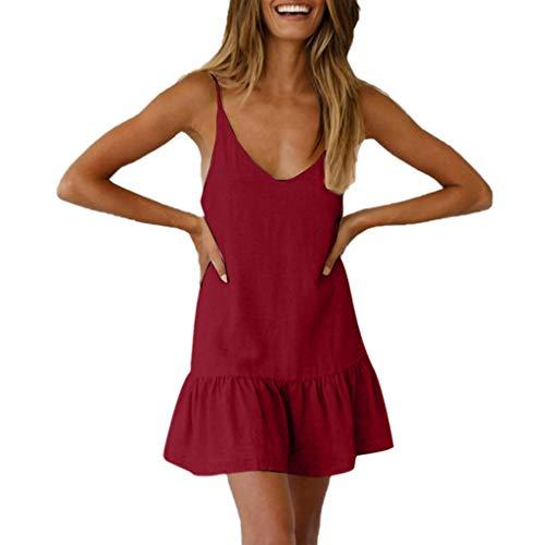 Women Summer Dress,Qingell Fashion Women's O-Neck Plain Ruffled