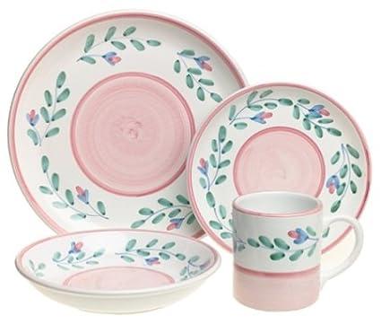 Caleca Pink Garland 16-Piece Dinnerware Set Service for 4  sc 1 st  Amazon.com & Amazon.com | Caleca Pink Garland 16-Piece Dinnerware Set Service ...