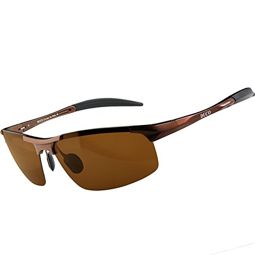 Duco Men's Sports Style Polarized Sunglasses Driver Glasses 8177S (Brown Frame,Brown - Sunglasses Extra Wide