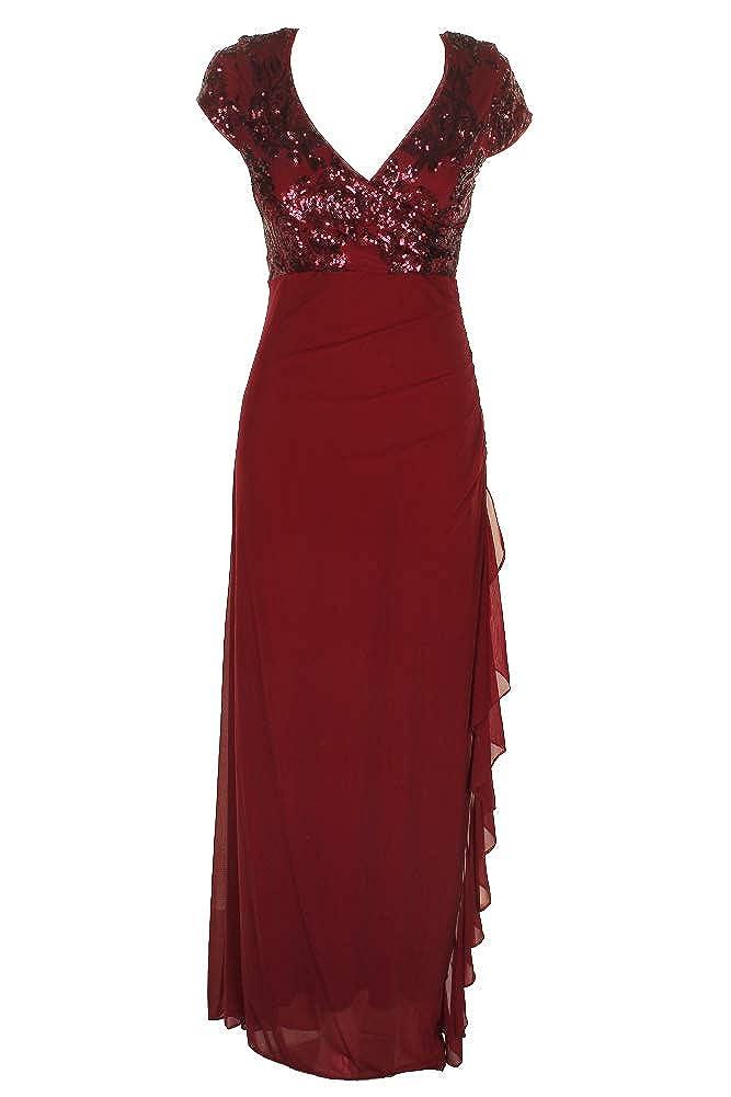 Burgundy Betsy & Adam Womens Petites Sequined Ruffled Evening Dress