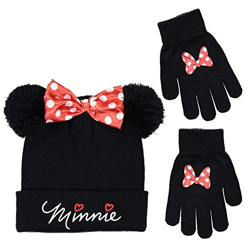 Disney Minnie Mouse Girls Beanie Knit Winter Hat and Glove Set [4015] ()
