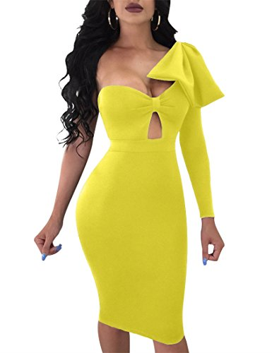 Mokoru Women's Sexy Bow One Shoulder Long Sleeve Bodycon Evening Party Midi Club Dress, X-Large, Yellow