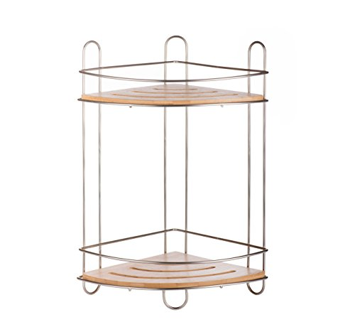AMG and Enchante Accessories Free Standing Bathroom Spa Tower Storage Corner Caddy, FC100007 SNI, Satin Nickel by AMG (Image #6)