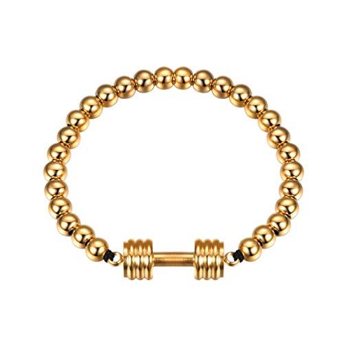 PROSTEEL Dumbbell Stretch Bracelet 18K Gold Plated Stainless Steel Beads Strand Fitness Men Jewelry Beaded - Gold Beaded Bead Plated