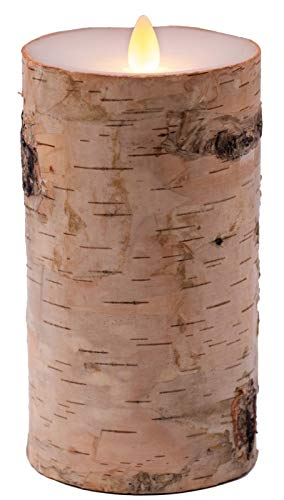 "Flameless Candles Flickering Flame Effect Real Wax(D 3.5"" x H 7""), Real Birch Bark Battery Operated LED Pillar Candles Real Wax with Timer and Remote to Buy Separately"