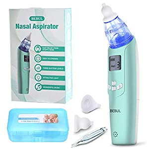 BEBUL Baby Nasal Aspirator Electric Nose Cleaner with 3 Suction Levels, LCD Screen, Flashlight and Music, Battery Operated Nose Suction Aspirator for Infant & Toddler (Light Green)