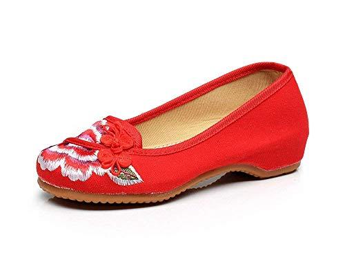 Femminile Fuxitoggo Casual Nell'aumento Scarpe 37 Stoffa Tendine Di Ricamate Etnico Rosso Suola Moda A Comodo Dimensione colore Stile wwfzn1qr