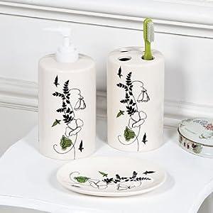 Black U0026 White Floral Bathroom Accessories   Decorative Accessories