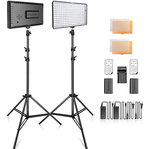 SAMTIAN 2-Pack 240PCS Dimmable LED Video Light 3200K 5600K Panel Light and 79 Inches Stand Lighting Kit with Remote Control Carry Case for YouTube Studio Photography, Video Shooting, Livestreaming (Camera Video Light)