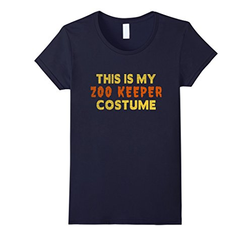 [Women's Halloween Shirt - This is My Zoo Keeper Costume Small Navy] (Zookeeper Costumes For Womens)