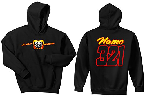 Honda Hoody Sweatshirt (Just Ride Motocross Number Plate Custom Personalized Hoodie Sweat Shirt Honda CR (SMALL, RED/YELLOW-WHITE#'S))
