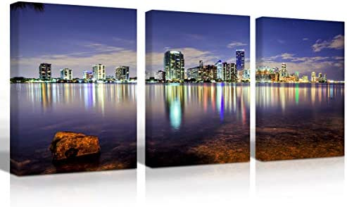 Mon Art City Night Canvas Oil Painting Wall Art Modern Canvas Decor Abstract Paintings on Canvas Buildings Lake Stretched and Framed Ready to Hang
