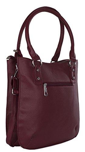 Big Handbag Shop - Bolso de asas de piel sintética para mujer Talla única azul oscuro
