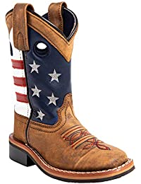 Boys' USA Flag Western Boot Wide Square Toe - 3800