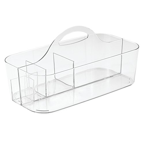 InterDesign Clarity Cosmetic Organizer Tote for Vanity Cabinet to Hold Makeup, Beauty Products, Clear, Small Tote