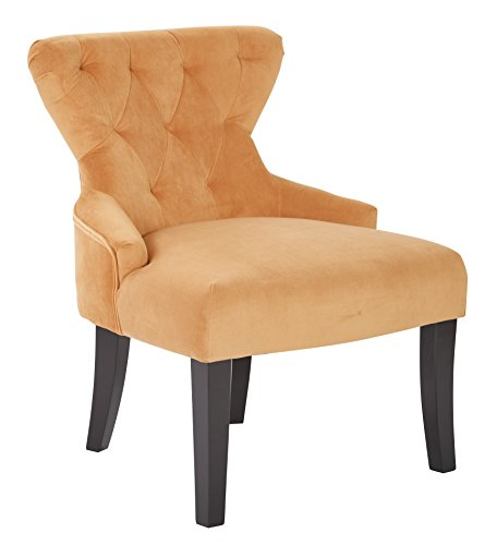 AVE SIX Curves Upholstered Hour Glass Accent Chair with Espresso Finish Wood Legs, Butternut Velvet
