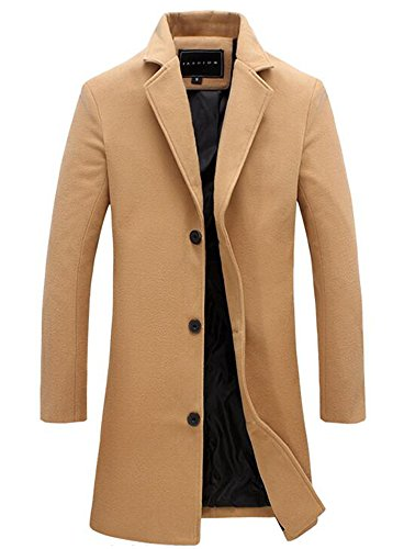Benibos Mens Trench Coat Slim Fit Notched Collar Overcoat (XL, F20Camel) by Benibos