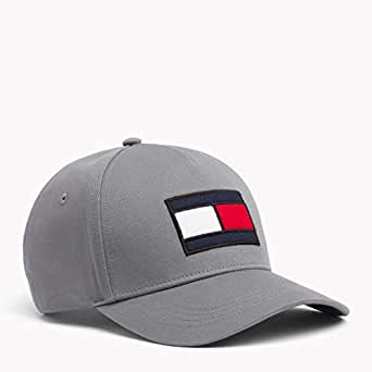 TOMMY HILFIGER Men's Big Flag Embroidered Logo Cap with Adjustable Buckle Strap, Charcoal Heather, One Size