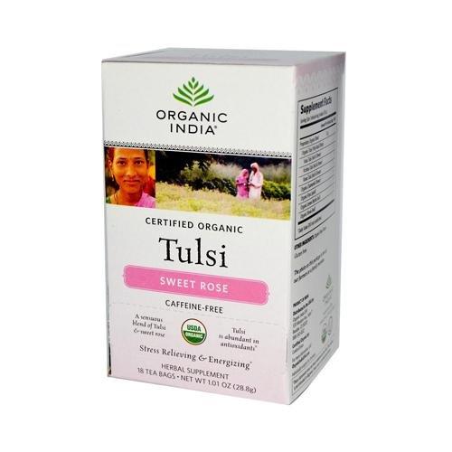 (Organic India Tulsi Tea Sweet Rose - 18 Tea Bags - Case Of 6)
