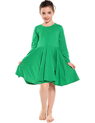 Arshiner Girls' Cotton Long Sleeve Twirly Skater Party Dress, Green, 6 (Girl With Out Dress)
