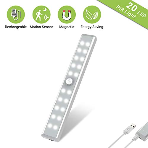Wardrobe Light, OxyLED Motion Sensor Closet Lights, 20 LED Under Cabinet Lights, USB Rechargeable Stick-on Stairs Step Light Bar, LED Night Light, Gun Safe Light with Magnetic Strip, 1-Pack, T-02U