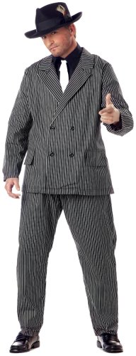 [California Costumes Men's Plus Size-Gangster, Black/White, PLUS (48-52) Costume] (Black Men Halloween Costume)