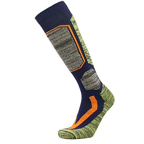 Outdoor Ski Socks,Cushioned Wicking Warm Knee High Snowboard Socks (US 9-US 12, Blue)