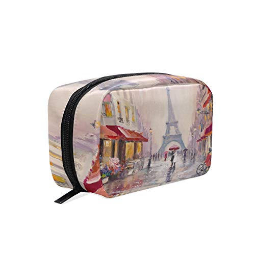 Vintga Paris Eiffel Tower Cosmetic Bag Travel Makeup Cases, House Lover Flower Oil Painting Red Street Portable?Pouch Organizer Large Capacity Toiletry Storage Bag Box for Girl and Women Outdoor