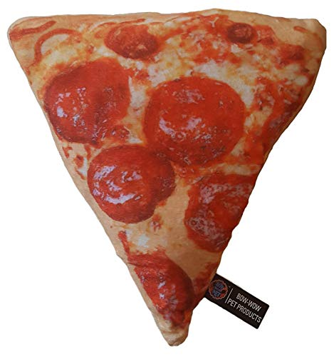 Bow-Wow Pet Products B07KGJMZ86 Junk Food Plush Pet Dog/Puppy Fetch & Play Toy Crinkle Sound (Pepperoni Pizza Slice), Medium
