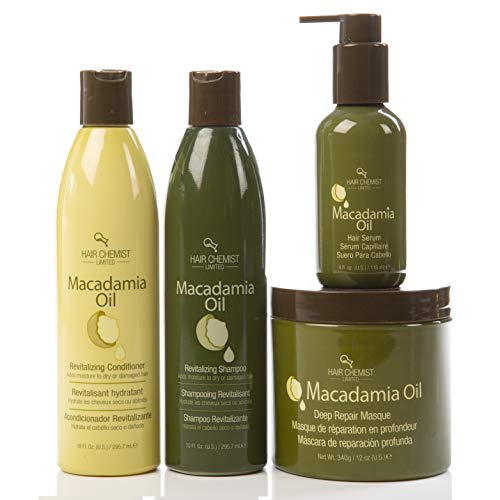 Hair Revitalizing Oil (Hair Chemist Macadamia Oil Revitalizing Combo Shampoo 10oz. + Conditioner 10oz + Deep Repair Masque 8oz + Hair Serum 4oz)
