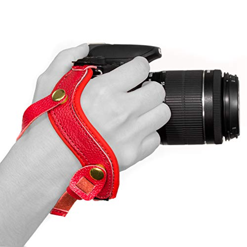 Megagear MG898 Genuine Leather Wrist Strap Comfort Padding, Enhanced Hand Grip Stability and Security for All Cameras (SLR/DSLR) One Size Fits All, Red