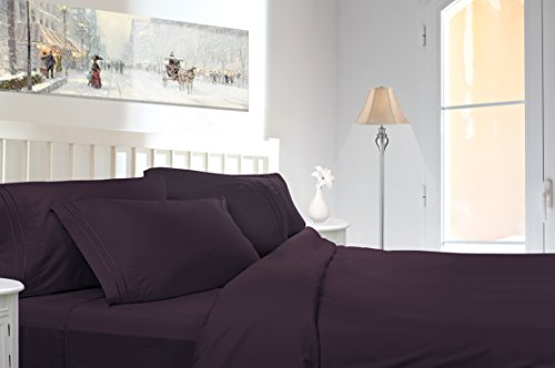Price comparison product image Premier Sheets Set, Dark Purple - Split King Triple Line Piping Embroidered on the Pillowcase, Egyptian Style Triple Brushed, Feels Like Micro Cotton Texture, by Clara Clark.
