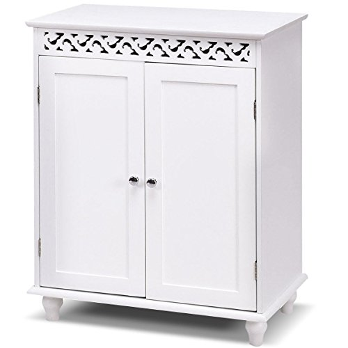 Gentleshower Storage Cabinet, Wooden Floor Cabinet with 2 Doors and 2 Shelves, Home Fashions Cabinet Cupboard with White Finish and Stylish Design, Snow White Assembled Wall Storage Cabinet