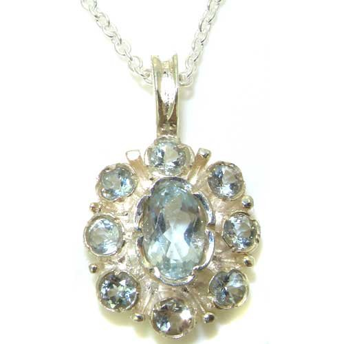 Ladies Solid 925 Sterling Silver Natural Aquamarine Pendant Necklace with English Hallmarks