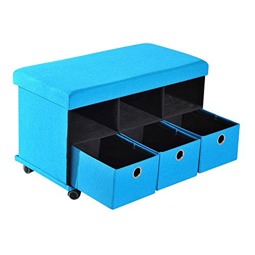 Folding Storage Ottoman Bench Stool Seat Drawers Footrest Wheel Blue by Magic Tech