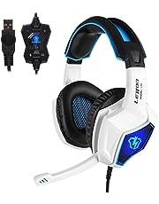 Anivia Gaming Headset für PS4 PC Computer Headset Weiß mit Mikrofon Surround Sound PC Gaming Kopfhörer mit Kabel L10 Over Ear Gaming Rauschunterdrückung für Laptop Tablet Mac Weiß Blau