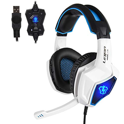 (LETTON L10 USB 7.1 Surround Sound Stereo Gaming Headset with Microphone for PC, Noise Cancelling Over Ear Headphones with LED Light Soft Earmuffs Bass Surround for Notebook Laptop Computers-White Blue)