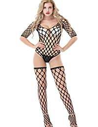 Xinkaishi Womens Long Sleeves Bodystockings Lingerie Closed Crotch Bodysuit