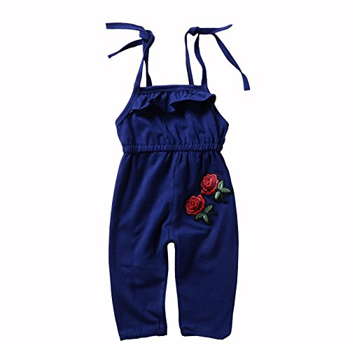 DiDaDo Toddler Girl Rompers Rose Floral Embroidered Cute Tank Tops Jumpsuit Summer Clothes 1-5 Years (Navy Blue, 1-2 Years)