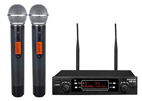 innopow 80-Channel Dual UHF Wireless Microphone System,Metal Cordless Mic set, Long Distance 200-240Ft Prevent Interference,16 Hours Continuous Use for Family Party,Church,Small karaoke Night (WM333)