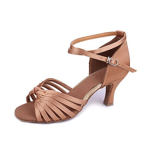 la Raya Siete marrón clásica Q Baile la de clásicos de para Brown satén T la de T del Zapatos Cruzada Sandalias de de salón Las Danza del Obra la Mujer vZC6Hxwq