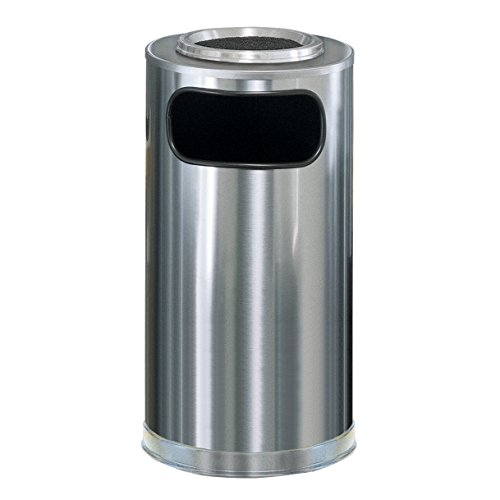 Rubbermaid Commercial European Ash Tray and Garbage Can with Steel Liner, 12-Gallon, Chrome