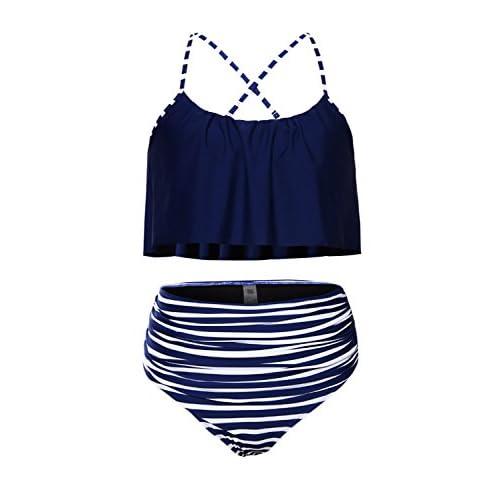 Amo & Co Femme Eté Tankini Maillot de Bain Bikini Set 2 Pièces Sans Manches Taille Grande