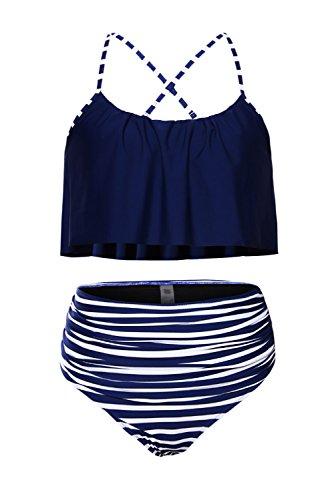 Amo & Co Thin Shoulder Straps Ruffled Flounce Crop High-Waisted Bikini Swimsuit (l, Blue)
