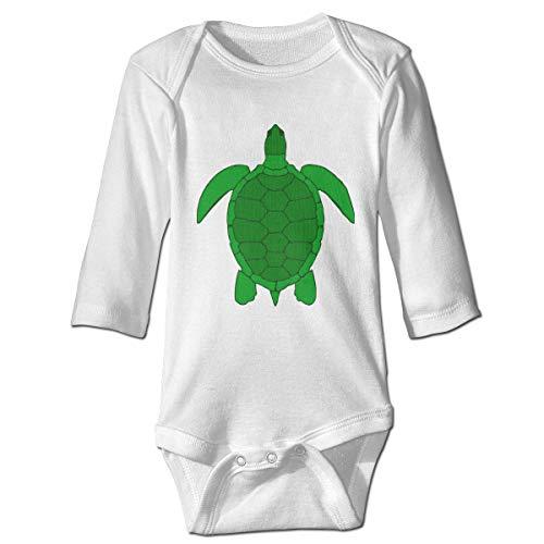 Turtle Clip Art Graphic Infant Baby Boy Girl Long Sleeve Pajamas Bodysuit Romper Jumpsuit White